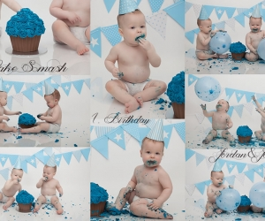 Birthday Cake Smash photo collage