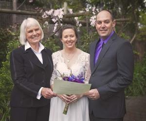 Wedding couple with registar